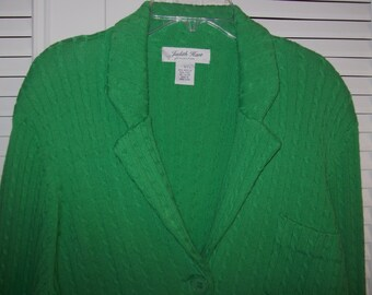 Cardigan Sweater Large,  Kelly Green  Double Cable Knit Cardigan Sweater by Judith Hart Size L