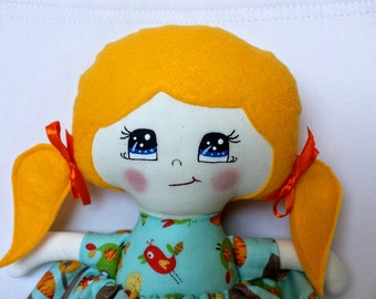Rag doll with DEFAULT, cloth doll with felt hair, playing, removale skirt and shoes, yellow sunny