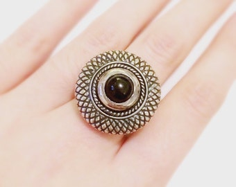 Sterling Silver and Black Stone Statement Ring