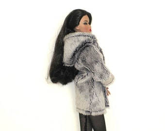 Plush Hooded Coat For Barbie Doll - Dark Navy Tipped Silver Unlined Loose - Dolls Hoody - Fashion Royalty Clothing - FR Doll Clothes