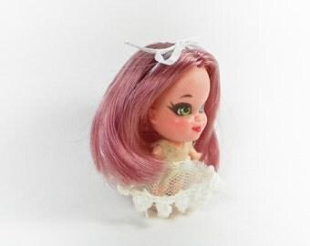 Restaurado de pelo malva Reroot completo Liddle Kiddle muñeca - polvo Color de rosa - Custom OOAK miniatura Mattel muñeca - muñeca Kiddle Perfume