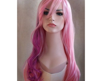 Pale pink straight wig with curly orchid highlight Daily wig
