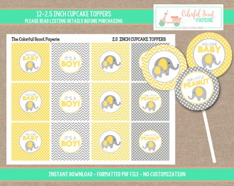 Elephant Baby Shower Cupcake Toppers, Elephant Cupcake toppers, Yellow and Grey, Instant Download, #0005