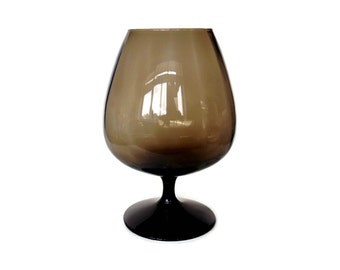 Mid Century Italian Glass Balloon Vase, Smokey Brown, Hand Blown