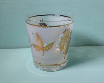 1950s 50s vintage Starlyte tumbler / rocks glass with gold frosted leaf design