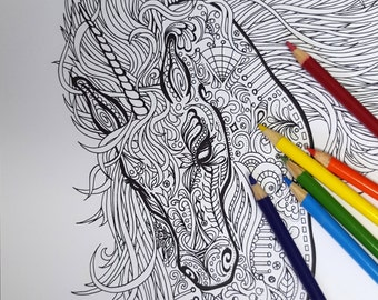 """SIGNED Unicorn Limited Edition 8.5x11"""" Coloring Print/Poster on High Quality Paper"""