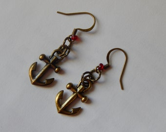 Brass Nautical Anchor and Buoy Earrings