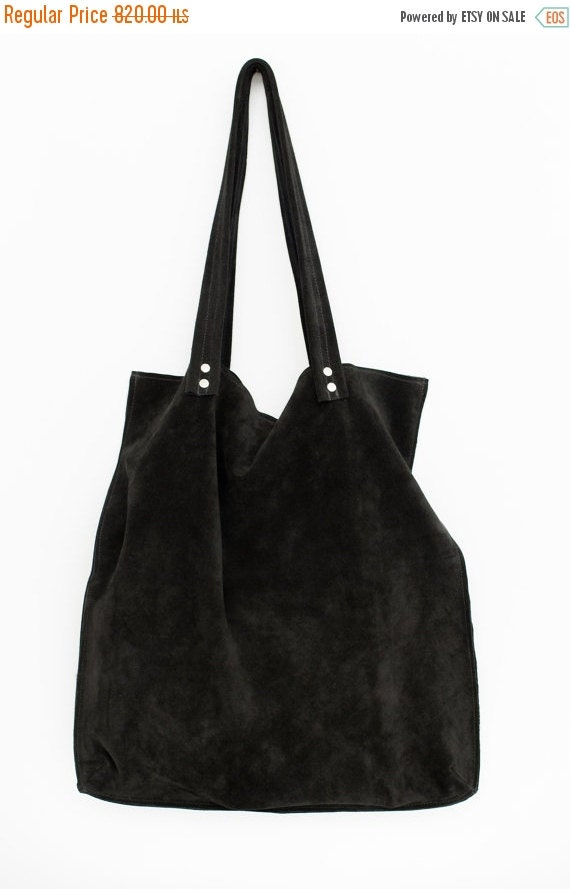 Large Black Suede Bagblack Suede Leather Tote Bag By