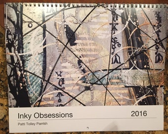 2016 Inky Obsessions Wall Calendar - Original Art Reproductions in 12 Month Spiral Bound Format