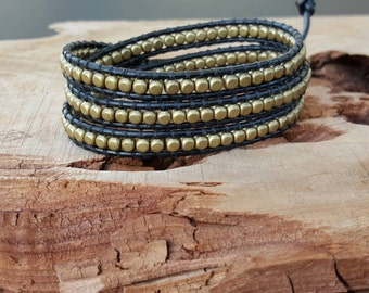 Chan luu, Boho, Bohemian Style Wrap Bracelet With Gold/Bronze Square Beads On Black Leather