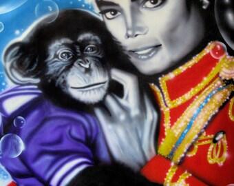 MICHAEL JACKSON (Bubbles) celebrity portrait painting by Artist Alicia Hayes
