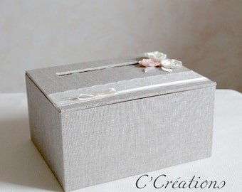 Box for guests gifts { Vintage polka }  linen, lace and satin