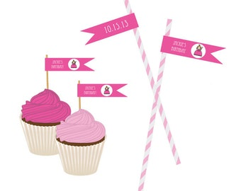 Princess Party Personalized  Flag Labels / Custom Straw Flag Labels - set of 20 / Personalized Labels for Straws