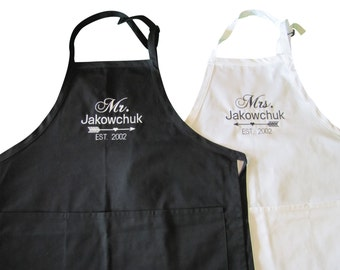 Embroidered Mr. and Mrs. Apron set. Personalized with last name and established date. Wedding Gift, Valentines Gift, Shower Gift