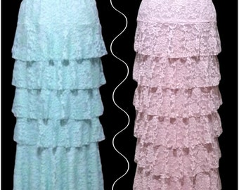 """The """"Lainey"""" Ruffle Skirt in Lace"""