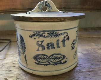 Early primitive antique pottery salt box crock with wood cover cobalt blue Scandinavian design