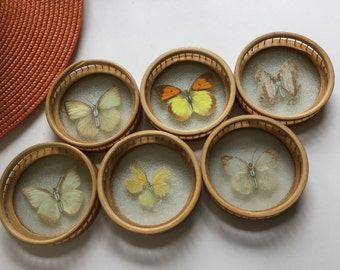 Vintage retro 70's wicker butterfly drink coaster set