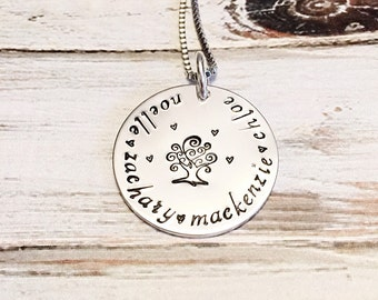 Mother's necklace - Tree jewelry - Grandmother's necklace - Name Necklace - Custom hand stamped necklace - Family tree