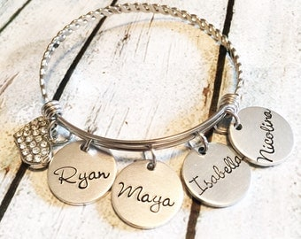 Mother's bracelet - Hand stamped bracelet -Stainless steel jewelry - Expandable bracelet -Personalized jewelry- Custom gift - Gift for Mom