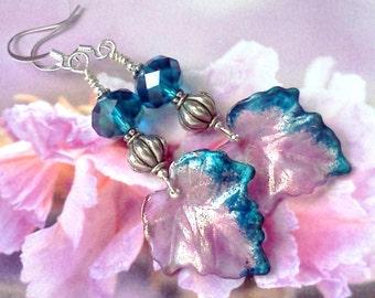 Lucite Earrings, Hand Painted Earrings, Hand Crafted Earrings, Leaf Earrings, Boho Earrings, Pink  Earrings, Pink and Blue Earrings, Painted