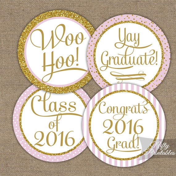 Pink Graduation Cupcake Toppers Pink & Gold by NiftyPrintables