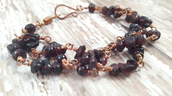 Garnet Bracelet / Copper Wire Wrapped Bracelet / Multi Strand Gemstone Bracelet / January Birthstone Bracelet