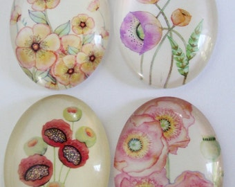 Flowers  Glass Cabochons