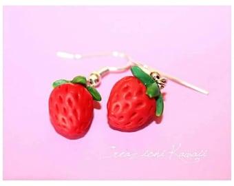 Strawberry 🍓 Kawaii Polymer Clay Earrings