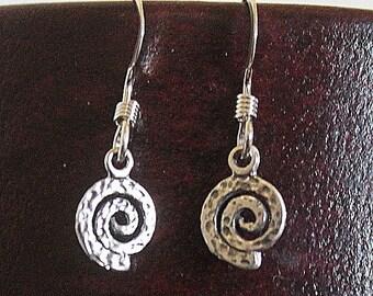 Teeny Tiny Spirals sterling silver dangle earrings petroglyph pictograph Shaman Native American rock art