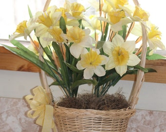 Daffodils in a Basket Spring Easter Yellow Centerpiece Bouquet American Cancer Society's Daffodil Days Gingham Ribbon Wedding Flower Girl