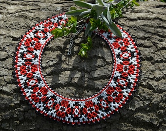 Necklace,Ukrainian traditional necklace. Beaded collar, Seed beads necklace