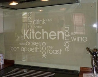 Kitchen Word Cloud Wall Art Quote Sticker Decal Transfer
