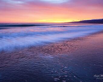 Beach sunset photography, long exposure, pink, purple, California Coast, beach, ocean photography, Jalama Beach, fine art photography print