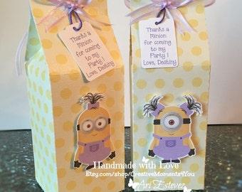 10- Girl Minion Milk Carton Favor/Treat Box