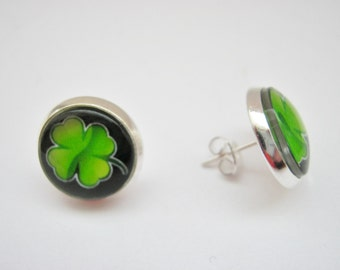 """Irish Four Leaf Clover Shamrock Stud Post Earrings 14mm (5/8"""") Silver Plated Irish Earrings  St Patrick's Day Jewelry Gifts"""