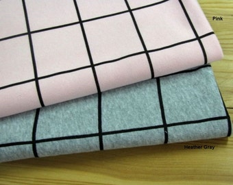 French Baby Terry Knit Fabric Plaid in 2 Colors By The Yard