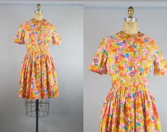 Full Bloom Dress / Vintage 1960s Dress / 60s Dress
