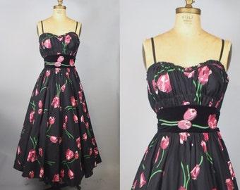 Tulip Garden Party Dress / 50s Dress / 1950s Party Dress