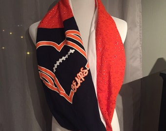 Ready to Ship - Chicago Bears recycled football gameday tshirt infinity scarf. Navy blue, orange and white with lace.