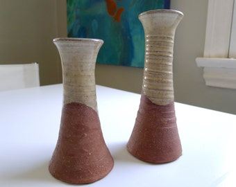 Mid Century Modern Candlestick Pair, MCM art pottery, modern candle holder