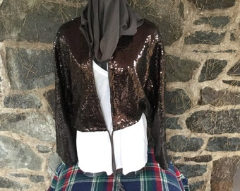 Sequined Hooded Cardigan 1970s