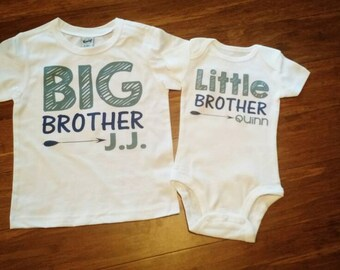 Big Brother Little Brother outfit with names - sibling shirts