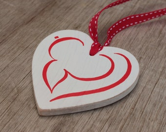 "Arabic Calligraphy ""Love"" (al-hub) hand-painted wooden heart - Muslim Islamic Wedding Nikah Eid Gift"
