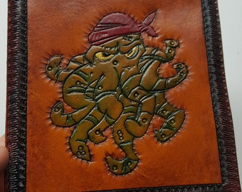 Octopus Pirate leather patch 5 1/2 X 5 1/2