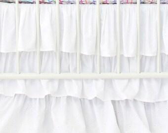 White Eyelet Ruffle Crib Skirt | White, Ruffled, Sweet, Eyelet, Simple Baby Girl Crib Skirt | White Eyelet Crib Bedding Set