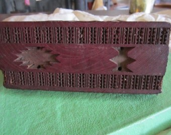 Vintage Textile Fabric Stamp Hand Carved From India
