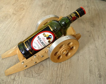 Vintage Gun Carriage for a Alcohol Bottle. Wine Rack. Home Decor.