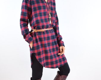 Sale  Plaid Tunic With Belt