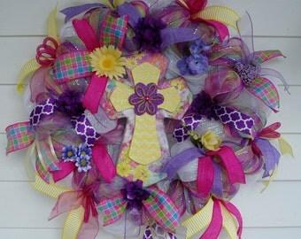 Easter Wreath, Cross Wreath, Christian Wreath, Deco Mesh Spring Wreath, Spring Wreath