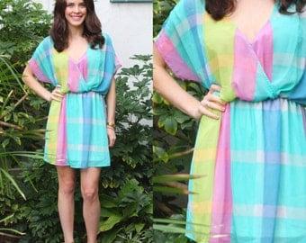 PASTEL PLAID DRESS Show Me Your MuMu Day Dress Chiffon Short Flowy Fitted Elastic Waist 80s Style Size M Medium